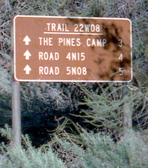Trail sign, Horn Canyon, 1984