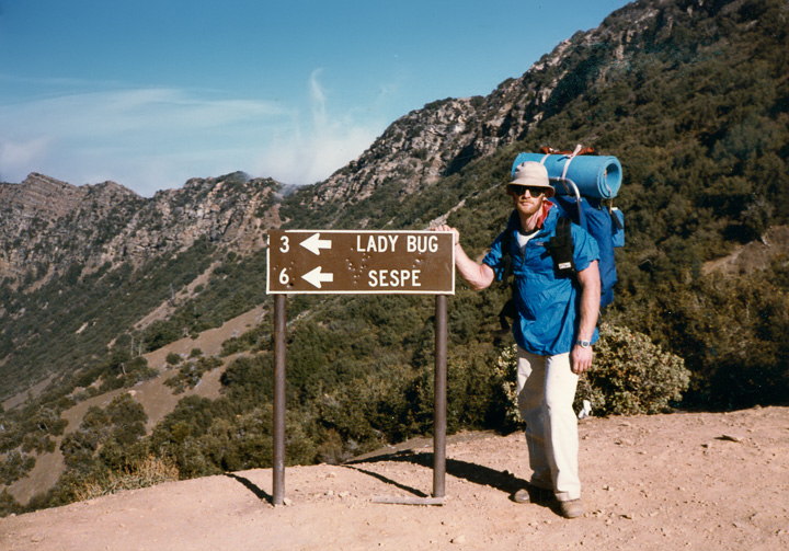 Lady Bug sign on the shoulder of Hines Peak, late 1985