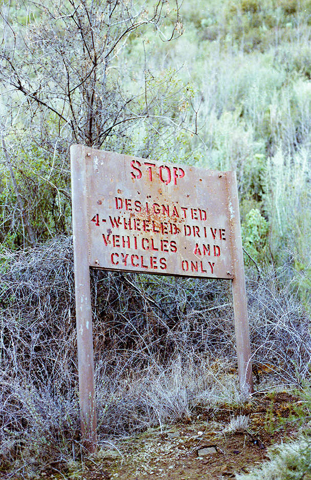 Sespe road sign near Lion Camp, a long time ago