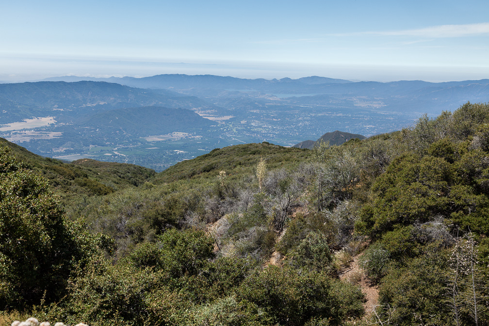 View down Horn Canyon to the Ojai Valley and Lake Casitas, August 13, 2011.