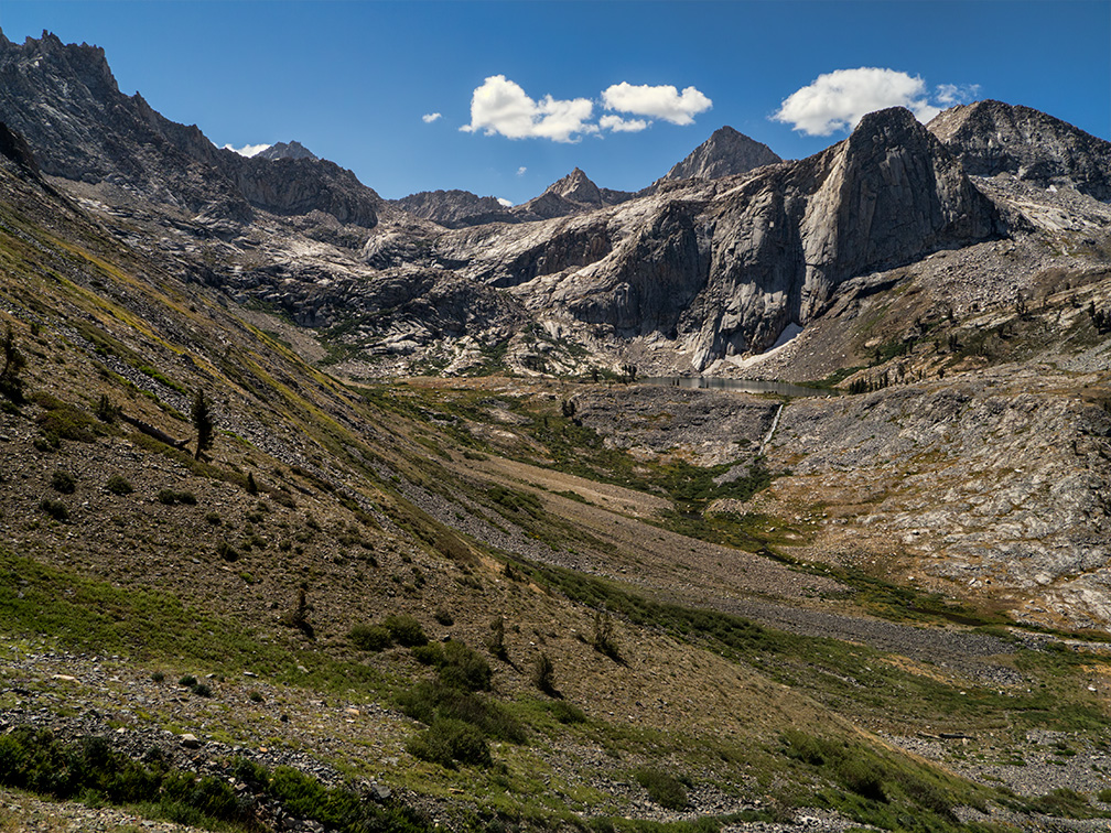 Descending Black Rock Pass; Spring Lake and Cliff Creek, August 23, 2012.