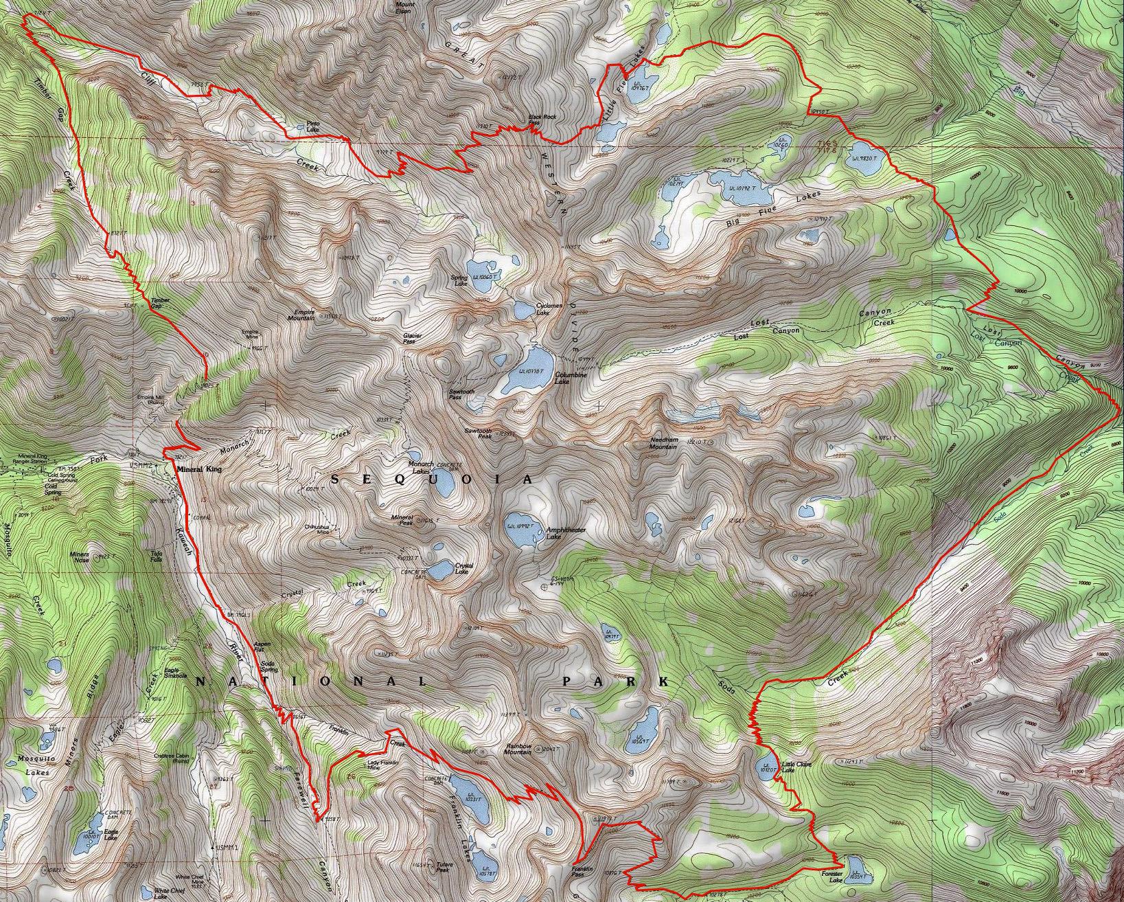The route: I planned to head over Franklin Pass and return to Mineral King via Timber Gap.