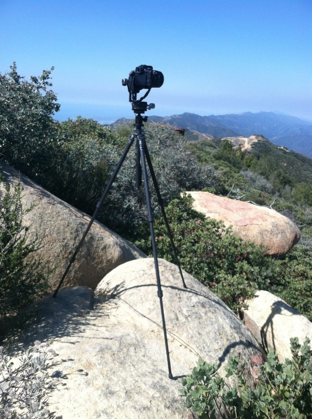 Camera and tripod on Santa Ynez ridge just west of Divide Peak, March 22, 2013