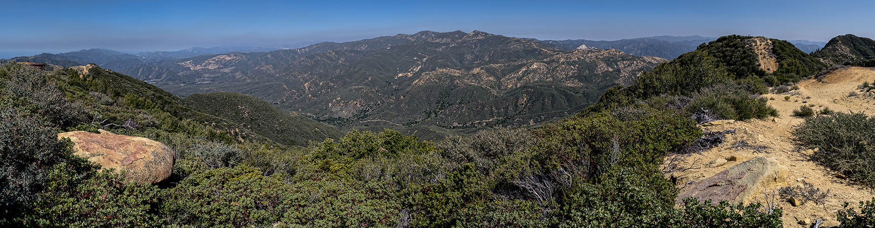 The view north to Monte Arido from Santa Ynez ridge; Divide Peak is far frame right (east), March 22, 2013