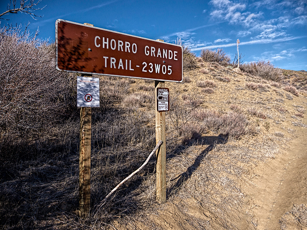 Chorro Grande trail head sign, February 7, 2014.