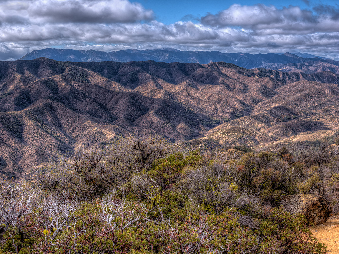 Dick Smith Wilderness and Sierra Madre ridge from Cuyama Peak, October 29, 2013