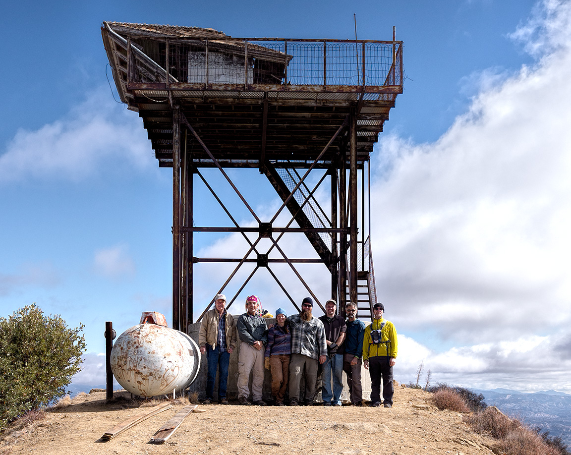 The micro trash crew under the Cuyama fire lookout, October 29, 2013.